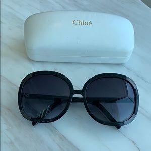 Black Oversized Chloe Sunglasses w Case